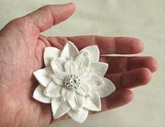 White on White Felt Flower Pin with Vintage by dorothydesigns