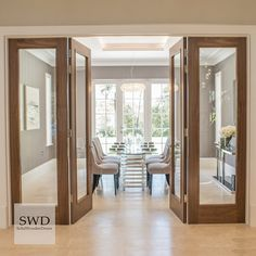 Make an entrance with full length glass doors and side screens Wooden Glass Door, Wooden Sliding Doors, Internal Sliding Doors, Sliding Door Design, Sliding Partition Doors, Living Room Sliding Doors, Double Doors Interior, Door Design Interior, Wooden Interior Doors