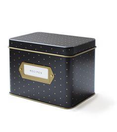 Polka Dot Tin Recipe Box