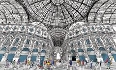 """The Galleria in Milan from"""" I am Milan"""" , illustration book by Carlo Stanga -Moleskine"""