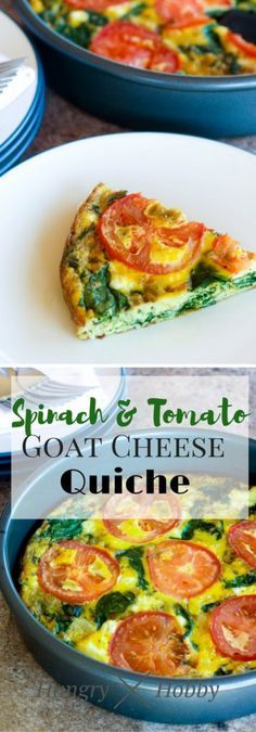 Spinach & Tomato Goat Cheese Quiche - Veggie Packed, High Protein, Low Carb, Gluten Free