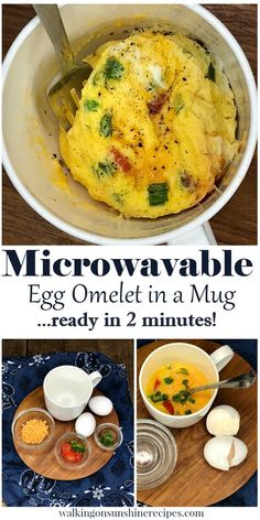 Microwavable Egg Omelet Ready in 2 Minutes from Walking on Sunshine Recipes Need a quick breakfast idea for your family? Try this Egg Omelet in a Mug Recipe. You can easily adjust the ingredients to make an omelet your family loves. Cook Egg In Microwave, Microwave Scrambled Eggs, Easy Microwave Recipes, Microwave Breakfast, Microwave Egg Whites, Egg Omelet, Omelette Ideas, Breakfast Omelette, Breakfast