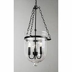 "Antique Copper-Finish 60 Watt Glass Lantern Chandelier - $150 from Overstock (globe is 11.5"" wide x 15"" tall)"
