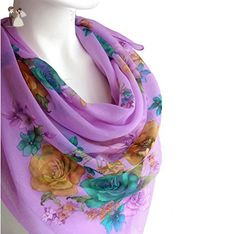 Pale Purple Scarf Spring Women's Fashion Accessories Lightweight Cotton Large Square Floral Print Scarf Shawl Wrap 38 x 38 inches - Bridal fashion accessories (*Amazon Partner-Link)