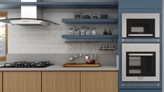 Com torre quente, cooktop, prateleiras em laca azul Brain Food, Irene, Villa, Kitchen Cabinets, Home Decor, Kitchen Pantry Cabinets, Green Kitchen, Kitchen Organization, Pinterest Home Decor Ideas