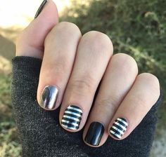 Fall fancy, silver stripes, blackest Jamberry