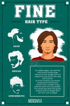 Hair types define what hairstyles suit you best and how to keep them on a roll. Check out our guide for the fullest info on the subject. Thin Straight Hair, Haircuts Straight Hair, Haircut For Thick Hair, Long Hair Cuts, Curly Hair Types, Curly Hair Men, Men Hair, Face Shape Hairstyles, Male Hairstyles