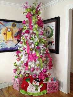 decorative white christmas trees | My white tree with hot pink and light green ... | Christmas Tree Decor