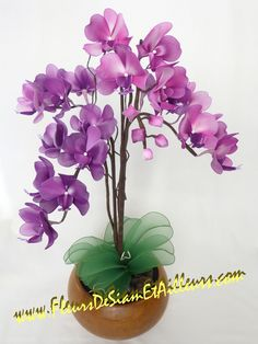 Orchidée Phalaenopsis Nylon Flowers, Wire Flowers, Flower Vases, Fabric Flowers, Paper Flowers, Flower Arrangements, Flower Crafts, Flower Art, Diy Arts And Crafts