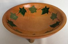 VTG Munising Wood Bowl Signed Hand Painted Decorated Green Ivy Pattern Wooden #Footed #Munising