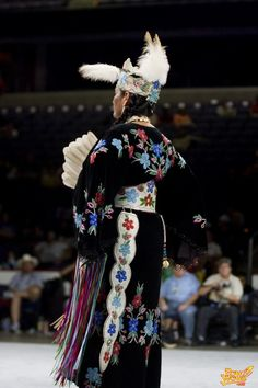 Full length floral beadwork on black velvet with tooled leather belt and otter tail Native American Clothing, Native American Regalia, Native American Photos, Native American Women, Native American Beadwork, American Indian Art, Powwow Regalia, Jingle Dress, Native Design