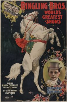 """Imagem 12: Ringling Bros e Barnum  Bailey Circus é uma empresa de circo americana anunciada como """"The Greatest Show on Earth"""" (O Melhor Show do Mundo) . A empresa começou em 1919, quando o circo criado por James Anthony Bailey e PT Barnum foi fundido com o Ringling Brothers Circus."""