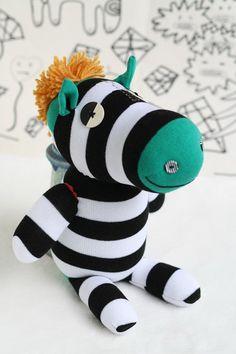 Handmade Sock Zebra Stuffed Animal Doll Baby Toys by Toyapartment, $16.90