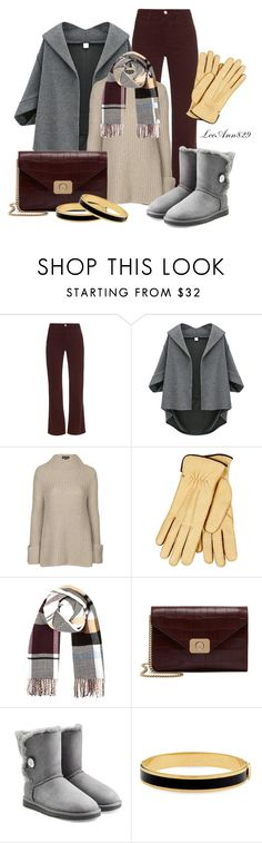 """""""blanket scarf"""" by leeann829 ❤ liked on Polyvore featuring AG Adriano Goldschmied, Topshop, River Island, Mulberry, UGG Australia and Halcyon Days"""