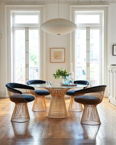 Platner Collection with 18k Gold-Plated Finish Tags / Keywords:  Warren Platner Platner Collection Platner Gold Platner Arm Chair Platner Dining Table Digi Velvet Maria Cornejo Maria Cornejo Collection Media ID: 12673 Credits:   Alec Hemer