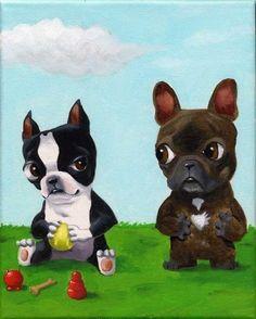 Boston Terrier monopolisant tous les jouets d'un par rubenacker