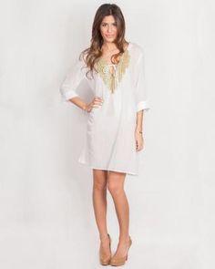 Designer : DRESSES OUTLET - WHITE EMBELLISHED KAFTAN - $17 Today on Mynetsale.com.au!