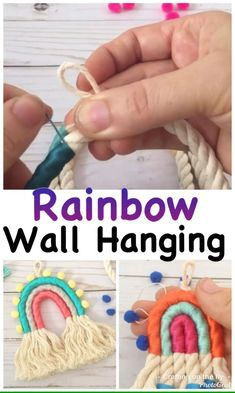 Easy rainbow wall hanging with Macrame cord and embroidery thread Macrame Wall Hanging Diy, Wall Hanging Crafts, Macrame Wall Hangings, Craft Tutorials, Diy Projects, Do It Yourself Inspiration, Macrame Cord, Macrame Bag, Macrame Design