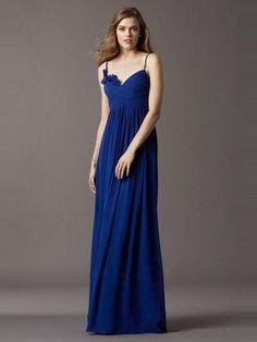 A-LINE SLEEVELESS CHIFFON SPAGHETTI STRAPS FLOOR-LENGTH RUFFLES CHIFFON BRIDESMAID DRESSES