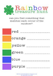 {printable} rainbow treasure hunt for st. patrick's day {alittledelightful}