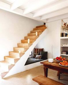 Modern Staircase Design Ideas - Stairs are so usual that you do not provide a doubt. Look into best 10 instances of modern staircase that are as spectacular as they are . Under Staircase Ideas, Storage Under Staircase, Space Under Stairs, Stair Storage, Modern Staircase, Staircase Design, Stairs In Small Spaces, Basement Storage, Basement Stairs