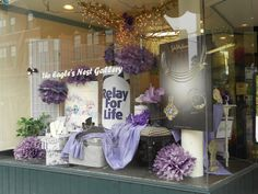 Relay for Life Window..Paint the town purple idea