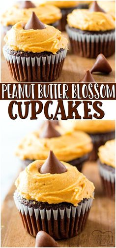 Peanut butter blossom cupcakes~ a fun twist on traditional peanut butter blossom cookies! Chocolate cupcakes topped with Peanut butter cream cheese frosting & a chocolate kiss are a delicious treat! #cupcakes #peanutbutter #dessert #frosting #chocolate #easyrecipe from BUTTER WITH A SIDE OF BREAD Homemade Chocolate Cupcakes, Chocolate Peanut Butter Cupcakes, Homemade Snickers, Chocolate Cake Mixes, Chocolate Recipes, Homemade Cupcake Recipes, Peanut Butter Dessert Recipes, Easy No Bake Desserts, Healthy Dessert Recipes