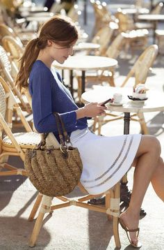 Blue and white outfit idea in Paris.