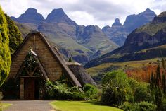 """Chapel at Cathedral Peak Hotel in Drakensberg, South Africa. Photo credit: Cathedral Peak Hotel via Elle. Destinations for a Dream Wedding"""" by Melissa Henderson. Destination Wedding Locations, Wedding Venues, Wedding Destinations, Wedding Ideas, Wedding Stuff, Wedding Inspiration, Africa Destinations, Namibia, Kwazulu Natal"""