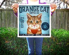 Orange Tabby Cat Coffee Company graphic artwork by geministudio, $29.00
