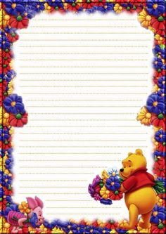 Ⓣ♡Ⓣ pretty flowers piglet and Pooh Printable Lined Paper, Free Printable Stationery, Printable Recipe Cards, Disney Scrapbook, Scrapbook Paper, Disney Frames, Mickey Mouse Wallpaper, Writing Paper, Letter Writing
