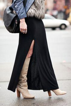 beige suede knee high boots, black maxi dress, fur vest, blue leather jacket