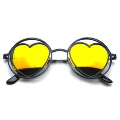 Womens Round Metal Heart Shape Hippie Circle Sunglasses