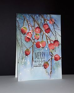 et de Penny Black par Micheline 'Mimi' Jourdain Painted Christmas Cards, Watercolor Christmas Cards, Christmas Card Crafts, Christmas Drawing, Noel Christmas, Christmas Paintings, Watercolor Cards, Xmas Cards, Handmade Christmas