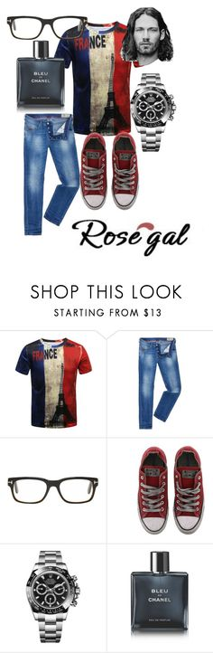 """Rose gal contest"" by feralkind ❤ liked on Polyvore featuring Diesel, Tom Ford, Converse, Rolex, Chanel, men's fashion and menswear"