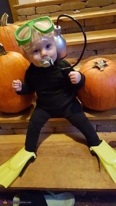 Scuba Diver Baby Costume. More Creative Baby Halloween Costume Ideas on Frugal Coupon Living. #scubadiverart #scubadivercostumes