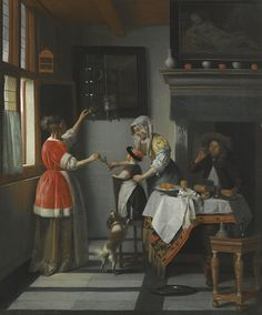 Pieter de Hooch | INTERIOR WITH A CHILD FEEDING A PARROT | Sotheby's