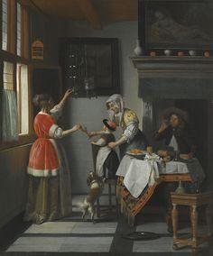 Pieter de Hooch | INTERIOR WITH A CHILD FEEDING A PARROT | Sotheby's