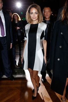 Nicole Richie wears an artsy black and white dress at Paris fashion week!