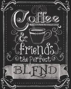 Coffee & friends, the perfect blend! Quem concorda?! Crie seu quadro com essa imagem e decore o cantinho do café! https://www.onthewall.com.br/frases-e-citacoes/cafe-e-amigos