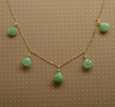 Chrysoprase Necklace, May Birthstone, Gemstone Gold Chain Necklace, Green Gemstone Necklace