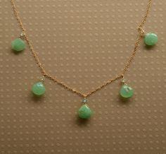 Chrysoprase Necklace, May Birthstone, Gemstone Gold Chain Necklace, Green Gemstone Necklace