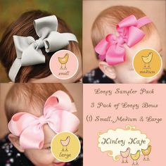 Baby Bow, Single Layer Loopy Grosgrain Boutique Baby Headband Bow Sampler Pack,  ANY COLORS you choose, Baby Headbands. $20.00, via Etsy.