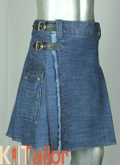 Blue Denim Kilt Custom Made made Demin Skirt, Plaid Skirts, Colored Denim, Blue Denim, Tactical Kilt, Kilt Pattern, Jean Outfits, Cool Outfits, Kilt Shop