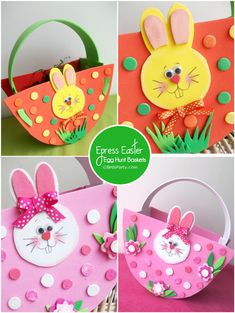 NO-Sew, Express Baskets for your Easter Egg Hunt with FREE Printable Pattern - Easter Crafts Easter Arts And Crafts, Diy Crafts For Kids Easy, Easter Basket Template, Basket Crafts, Diy Ostern, Bird Crafts, Bunny Crafts, Easter Party, Easter Gift