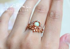 「Adeline」- Vintage Rose Ring, in Opal Reminiscent of the musky fragrance fro… 2019 Vintage Engagement Rings, Vintage Rings, Opal Jewelry, Jewelry Rings, Jewellery, Vintage Rosen, Morganite Engagement, Pretty Rings, Ring Verlobung
