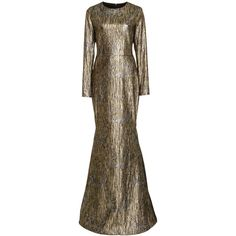 Romona Keveža Long Sleeve Metallic Gown featuring polyvore, women's fashion, clothing, dresses, gowns, silver, long sleeve ball gowns, sleeve evening dress, long sleeve metallic dress, long sleeve gowns and sleeved dresses