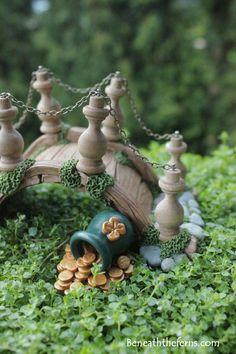 Leprechaun Irish pot of gold miniature fairy garden accessory for St. Patrick's themed fairy garden bridge
