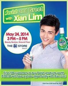 Do you want to be always fresh and always on with Swish? Xian Lim tells us how on May 24, Saturday at The SM Store Beauty Section in SM Makati Department Store from 3-5 PM! Get a chance to have your photos taken with Xian Lim for the first 100 customers when you buy Swish! Visit the Swish Booth in SM Makati Department Store from May 22-28 for FREE sampling of Swish Mouthwash and other exciting promos!