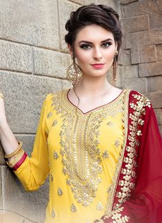 Buy Intricate Yellow Colored Party Wear Embroidered Georgette Palazzo Suit at Rs. Get latest Palazzo suit at Peachmode. Yellow Punjabi Suit, Indian Suits Punjabi, Punjabi Suits Party Wear, Punjabi Salwar Suits, Sharara Suit, Salwar Pattern, Boutique Suits, Palazzo Suit, Red Fabric